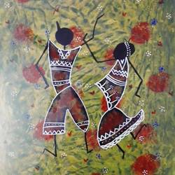 warli painting dance, 20 x 30 inch, mukul kumar,folk art paintings,paintings for office,warli paintings,thick paper,acrylic color,20x30inch,GAL043669932