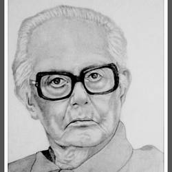 r.k. laxman, 10 x 15 inch, shivkumar  menon,drawings,portrait drawings,paintings for living room,paper,graphite pencil,10x15inch,GAL09869933
