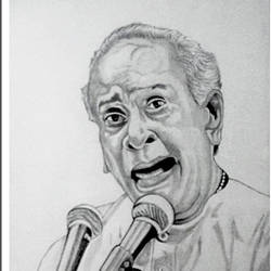 pandit bhimsen joshi, 11 x 15 inch, shivkumar  menon,drawings,portrait drawings,paintings for living room,paper,graphite pencil,11x15inch,GAL09869934