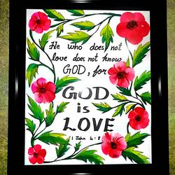 god is love! , 10 x 14 inch, annie  madonna j,paintings for living room,modern art paintings,religious paintings,rice paper,watercolor,10x14inch,GAL043689937