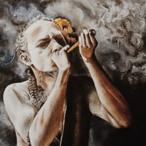 smoke the worries away, 20 x 10 inch, sristi shree,paintings,portrait paintings,paintings for living room,paper,pastel color,20x10inch,GAL043709939