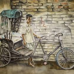 the rikshaw-wala, 20 x 10 inch, sristi shree,paintings,conceptual paintings,paper,watercolor,20x10inch,GAL043709940