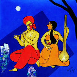 an engagement couple, 23 x 23 inch, chetan katigar,figurative paintings,paintings for living room,vertical,canvas,acrylic color,23x23inch,GAL02669945