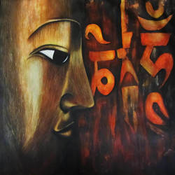 sutras, 26 x 40 inch, binita shome vora,paintings,buddha paintings,paintings for dining room,canvas,acrylic color,26x40inch,GAL043749949