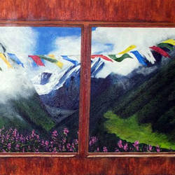 prayer flags, 36 x 48 inch, binita shome vora,paintings for dining room,landscape paintings,multi piece paintings,canvas,acrylic color,36x48inch,GAL043749953