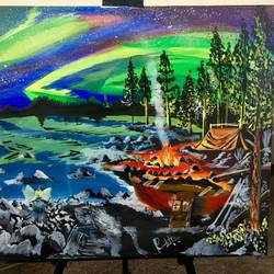 northern lights , 24 x 30 inch, prashanth patnaik,paintings,landscape paintings,canvas,acrylic color,24x30inch,GAL043769956