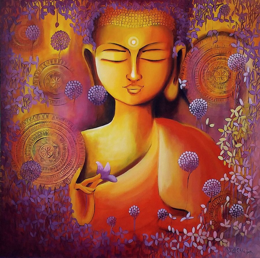 glimpse of buddhas enlightenment 2, 36 x 36 inch, nitu chhajer,paintings,buddha paintings,paintings for dining room,canvas,acrylic color,36x36inch,GAL05829962