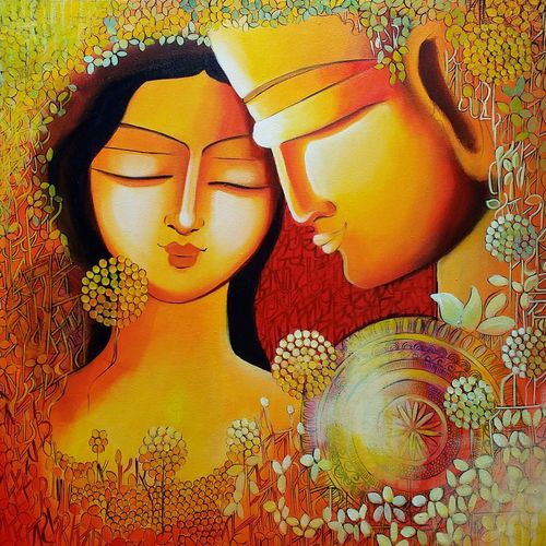 unspoken love, 24 x 24 inch, nitu chhajer,abstract paintings,paintings for bedroom,vertical,paintings for dining room,paintings for living room,paintings for office,paintings for hospital,canvas,acrylic color,24x24inch,GAL05829963