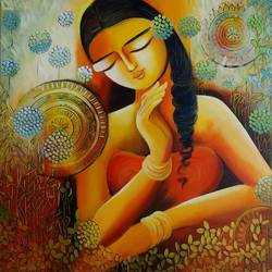 in love with self, 24 x 24 inch, nitu chhajer,figurative paintings,paintings for bedroom,paintings for dining room,paintings for living room,paintings for office,paintings for hospital,canvas,acrylic color,24x24inch,GAL05829966