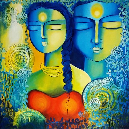 harmony, 24 x 24 inch, nitu chhajer,paintings,figurative paintings,paintings for bedroom,canvas,acrylic color,24x24inch,GAL05829967