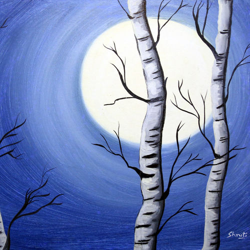 woods by the night, 30 x 20 inch, shruti kapoor,paintings,landscape paintings,paintings for living room,canvas,oil,30x20inch,GAL022409982