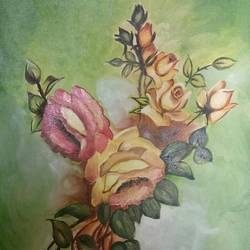 bunch of roses, 15 x 22 inch, shruti kapoor,paintings,flower paintings,paintings for living room,canvas,oil paint,15x22inch,GAL022409983