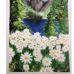 dancing daisies, 6 x 9 inch, srinidhi srinivasan,paintings,nature paintings,paintings for living room,thick paper,acrylic color,6x9inch,GAL042719984Nature,environment,Beauty,scenery,greenery