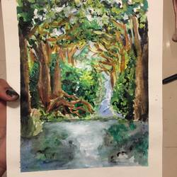 heart of the forest, 6 x 9 inch, srinidhi srinivasan,paintings,nature paintings,paintings for living room,thick paper,acrylic color,6x9inch,GAL042719985Nature,environment,Beauty,scenery,greenery