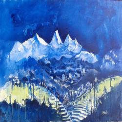 himaliya series ii, 35 x 15 inch, hitesh kumar,paintings,landscape paintings,paintings for dining room,canvas,acrylic color,35x15inch,GAL041159989