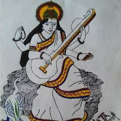 maa saraswati, 8 x 12 inch, lata singh,drawings,art deco drawings,paintings for living room,paper,acrylic color,8x12inch,GAL043929993