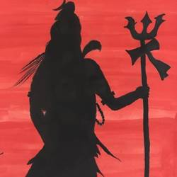 lord shiva, 8 x 12 inch, lata singh,landscape paintings,paintings for living room,lord shiva paintings,paper,poster color,8x12inch,GAL043929994