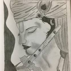 lord krishna, 8 x 12 inch, lata singh,drawings,radha krishna drawings,paintings for living room,paper,graphite pencil,8x12inch,GAL043929996