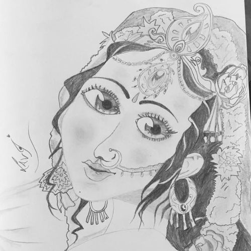 radha rani, 8 x 12 inch, lata singh,drawings,radha krishna drawings,paintings for living room,paper,graphite pencil,8x12inch,GAL043929997