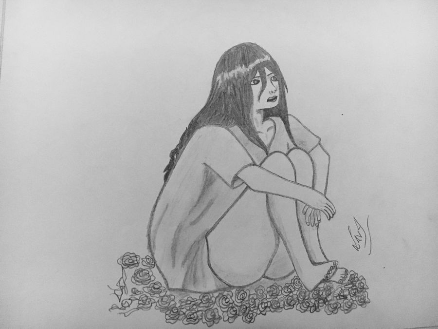 sad girl, 8 x 12 inch, lata singh,drawings,art deco drawings,paintings for living room,paper,graphite pencil,8x12inch,GAL043929998