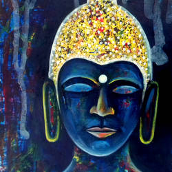 buddha, 13 x 19 inch, girish chandra vidyaratna,paintings,paintings for bedroom,figurative paintings,paper,acrylic color,13x19inch,GAL0369999