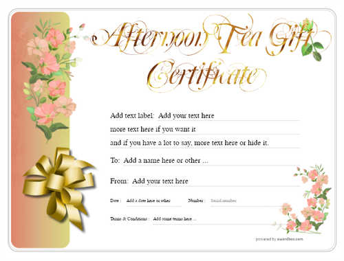 afternoon tea  gift certificate style8 red template image-96 downloadable and printable with editable fields