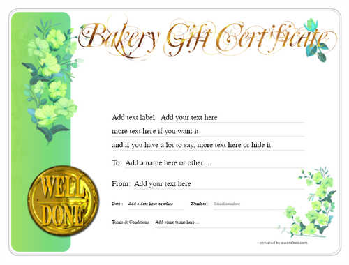 bakery gift certificate style8 green template image-176 downloadable and printable with editable fields