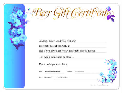 beer    gift certificate style8 blue template image-203 downloadable and printable with editable fields