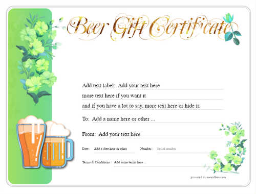 beer    gift certificate style8 green template image-202 downloadable and printable with editable fields