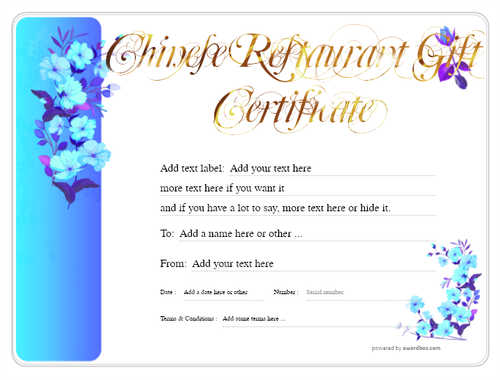chinese restaurant gift certificate style8 blue template image-73 downloadable and printable with editable fields