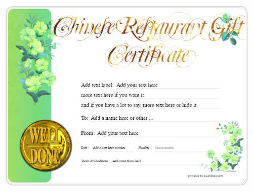 chinese restaurant gift certificate style8 green template image-72 downloadable and printable with editable fields