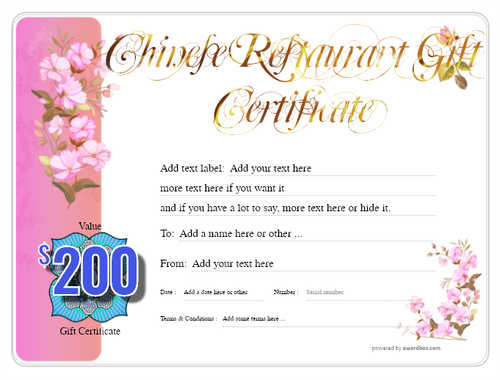 chinese restaurant gift certificate style8 pink template image-71 downloadable and printable with editable fields