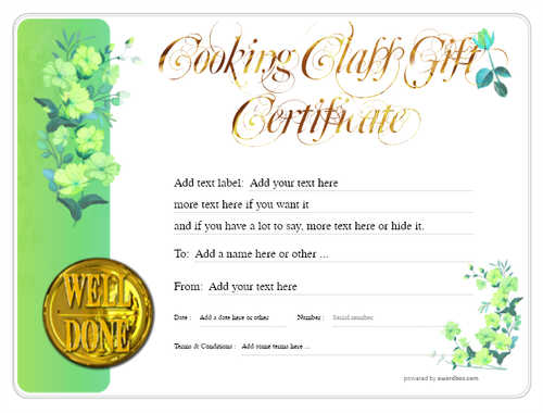 cooking class gift certificate style8 green template image-228 downloadable and printable with editable fields