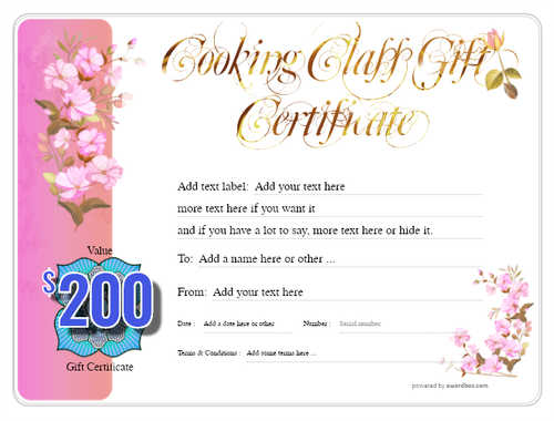 cooking class gift certificate style8 pink template image-227 downloadable and printable with editable fields