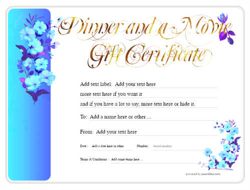 dinner and a movie gift certificate style8 blue template image-151 downloadable and printable with editable fields