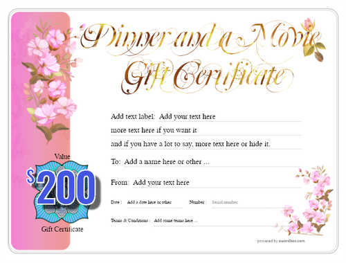 dinner and a movie gift certificate style8 pink template image-149 downloadable and printable with editable fields