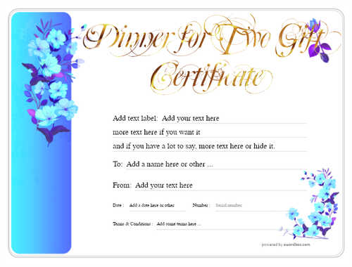 dinner for two gift certificate style8 blue template image-125 downloadable and printable with editable fields
