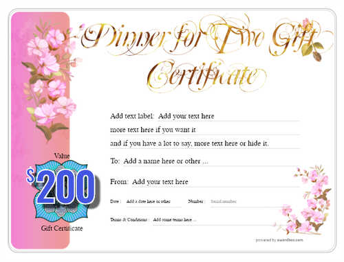 dinner for two gift certificate style8 pink template image-123 downloadable and printable with editable fields