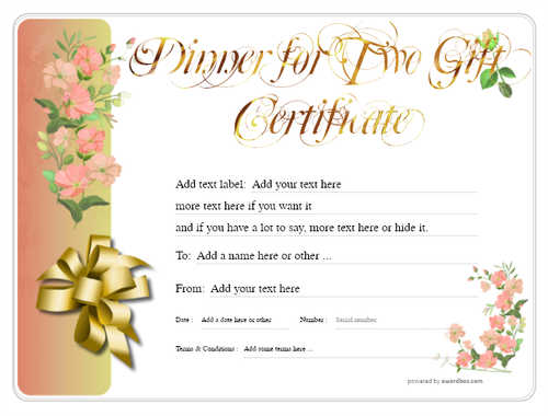 dinner for two gift certificate style8 red template image-122 downloadable and printable with editable fields