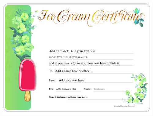 ice cream   gift certificate style8 green template image-254 downloadable and printable with editable fields