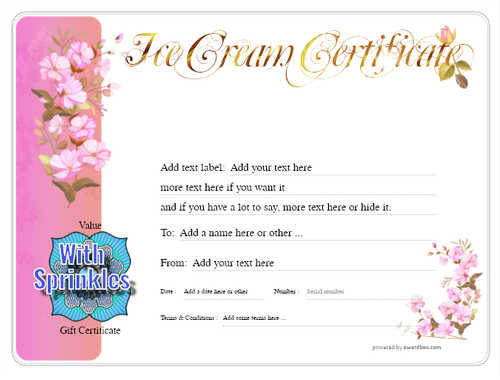 ice cream   gift certificate style8 pink template image-253 downloadable and printable with editable fields