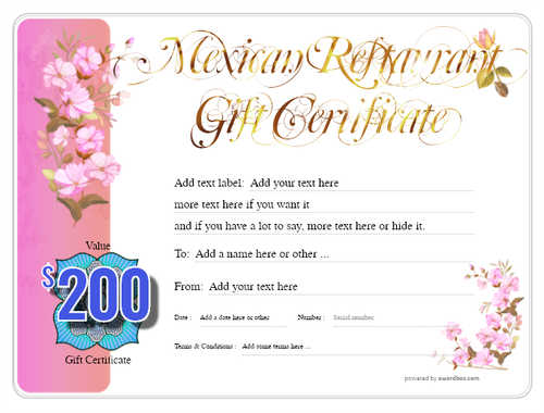 mexican restaurant gift certificates style8 pink template image-44 downloadable and printable with editable fields