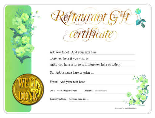 restaurant  gift certificate style8 green template image-19 downloadable and printable with editable fields
