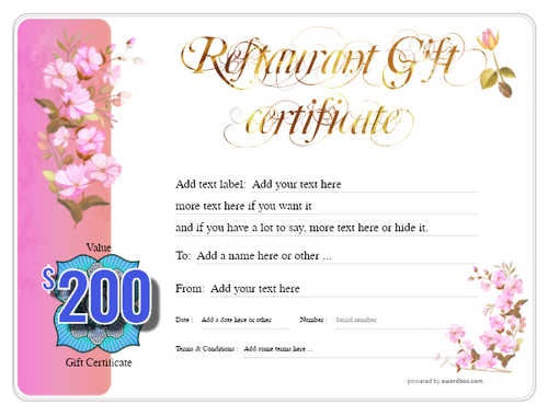 restaurant  gift certificate style8 pink template image-18 downloadable and printable with editable fields