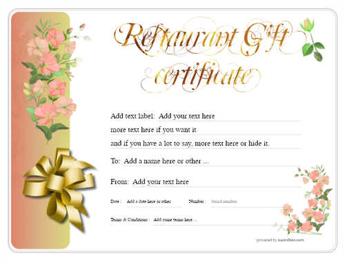 restaurant  gift certificate style8 red template image-17 downloadable and printable with editable fields