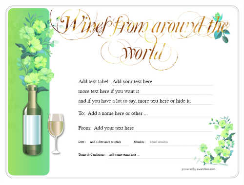 wine tasting gift certificate style8 green template image-280 downloadable and printable with editable fields