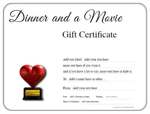 dinner and a movie gift certificate style1 default template image-132 downloadable and printable with editable fields