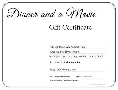 dinner and a movie gift certificate style1 default template image-133 downloadable and printable with editable fields
