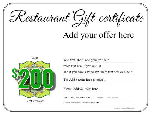 restaurant  gift certificate style1 default template image-3 downloadable and printable with editable fields