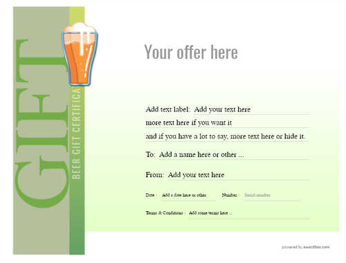 beer    gift certificate style3 green template image-187 downloadable and printable with editable fields